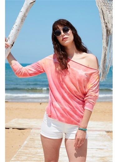 Latin Quarter Sulu Boya Desenli Kayık Yaka Oversize Uzun Kollu T-shirt Pembe